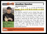 2005 Topps Update #292  Jonathan Sanchez   Back Thumbnail