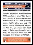 2005 Topps Update #186   -  Carlos Beltran All-Star Back Thumbnail