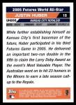 2005 Topps Update #205  Justin Huber  Back Thumbnail