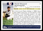 2005 Topps Update #265  David Shepard   Back Thumbnail