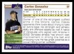 2005 Topps Update #298  Carlos Gonzalez   Back Thumbnail