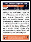 2005 Topps Update #191   -  Mike Piazza All-Star Back Thumbnail
