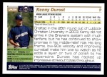 2005 Topps Update #291  Kenny Durost   Back Thumbnail