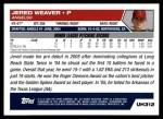2005 Topps Update #312  Jered Weaver  Back Thumbnail