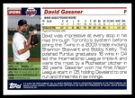 2005 Topps Update #295  David Gassner   Back Thumbnail