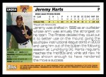 2005 Topps Update #254  Jeremy Harts   Back Thumbnail