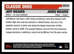2006 Topps Update #330  Jered Weaver / Jeff Weaver  Back Thumbnail