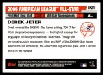 2006 Topps Update #219   -  Derek Jeter All-Star Back Thumbnail