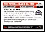 2006 Topps Update #253   -  Matt Holliday All-Star Back Thumbnail