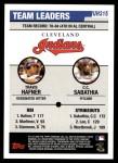 2006 Topps Update #315   -  Travis Hafner / C.C. Sabathia Indians Team Leaders Back Thumbnail