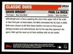 2006 Topps Update #324  David Wright / Paul LoDuca  Back Thumbnail