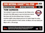 2006 Topps Update #266   -  Tom Gordon All-Star Back Thumbnail