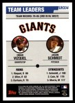 2006 Topps Update #304   -  Omar Vizquel / Jason Schmidt Giants Team Leaders Back Thumbnail
