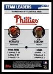 2006 Topps Update #292   -  Ryan Howard / Tom Gordon Phillies Team Leaders Back Thumbnail