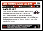 2006 Topps Update #250   -  Carlos Lee All-Star Back Thumbnail
