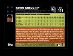 2007 Topps Update #111  Kevin Gregg  Back Thumbnail