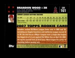 2007 Topps Update #161  Brandon Wood  Back Thumbnail