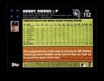 2007 Topps Update #112  Henry Owens  Back Thumbnail