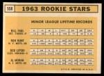 1963 Topps #558   -  Ron Hunt / Bill Faul / Al Moran / Bob Lipski Rookie Stars   Back Thumbnail
