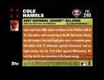 2007 Topps Update #240  Cole Hamels  Back Thumbnail