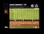 2007 Topps Update #322  David Murphy  Back Thumbnail