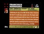 2007 Topps Update #234  Francisco Rodriguez  Back Thumbnail