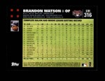 2007 Topps Update #316  Brandon Watson  Back Thumbnail
