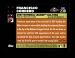 2007 Topps Update #238  Francisco Cordero  Back Thumbnail