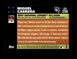 2007 Topps Update #258  Miguel Cabrera  Back Thumbnail