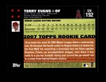 2007 Topps Update #192  Terry Evans  Back Thumbnail