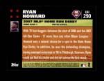 2007 Topps Update #290  Ryan Howard  Back Thumbnail