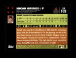 2007 Topps Update #169  Micah Owings  Back Thumbnail