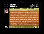 2007 Topps Update #244  Brad Penny  Back Thumbnail