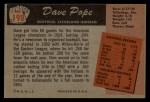 1955 Bowman #198  Dave Pope  Back Thumbnail