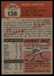 1953 Topps #138  George Kell  Back Thumbnail