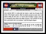 2008 Topps Updates #135  Jose Arredondo  Back Thumbnail