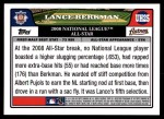 2008 Topps Updates #25   -  Lance Berkman All-Star Back Thumbnail