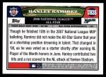 2008 Topps Updates #35   -  Hanley Ramirez All-Star Back Thumbnail