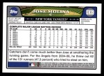 2008 Topps Updates #39  Jose Molina  Back Thumbnail