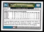 2008 Topps Updates #157  Mark Hendrickson  Back Thumbnail