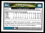 2008 Topps Updates #32  Cody Ross  Back Thumbnail