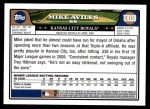 2008 Topps Updates #159  Mike Aviles  Back Thumbnail