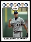 2008 Topps Updates #38  Carlos Villanueva  Front Thumbnail