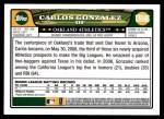 2008 Topps Updates #146  Carlos Gonzalez  Back Thumbnail