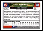 2008 Topps Updates #117  Jed Lowrie  Back Thumbnail