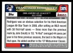 2008 Topps Updates #76   -  Francisco Rodriguez All-Star Back Thumbnail