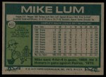 1977 Topps #601  Mike Lum  Back Thumbnail