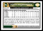 2008 Topps Updates #270  Justin Duchscherer  Back Thumbnail