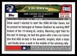 2008 Topps Updates #221   -  J.D. Drew All-Star Back Thumbnail