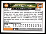 2008 Topps Updates #309  John Bowker  Back Thumbnail